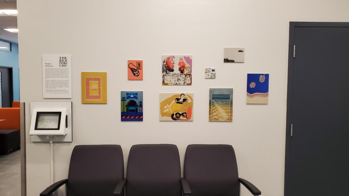 "Display of 9 prints from ""Modern Exhibit"" on the first floor of the Reynolds building"